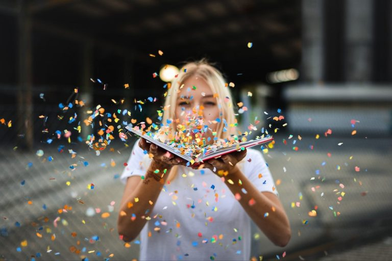 woman, confetti, sparkles